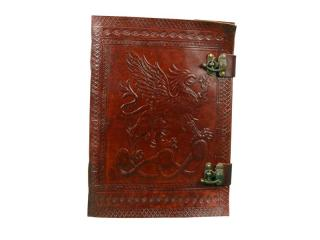 Celtic Blank Leather Gryphon JOURNAL Diary BOS Wicca Pagan Shaman Witch Metal Clasp office & School Use