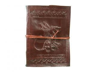 Embossed Brown Handmade Dragon Leather  Journal Diary Lock 120 sheets hand made paper Blank Journal