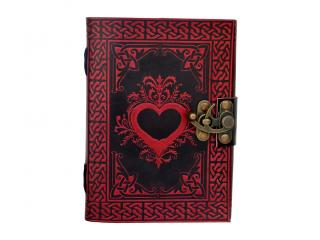 Celtic Love Heart Beautiful Shadow Leather Journal Red With Black Color Dairy Note Book Wholesaler India