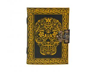 New Celtic Day of the Dead Leather Embossed Journal with metal lock Yellow With Black Shadow Two Color Journal Book