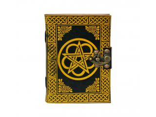 New Color Blocking Hard Cover Customized Handmade Celtic Pentagram Leather Journal Diary Notebook Note Book