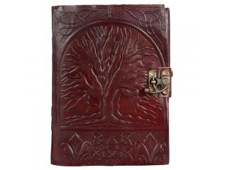 Hand Tooled Embossed Tree Of Life Leather Blank Journal Diary Notebook Book Brown Colors With Lock Handmade Paper Engraved Brown Leather Bound Journal