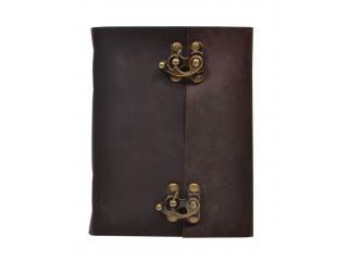 Leather Journal Blank Unlined Paper Handmade Brass Clasp Lock Journal Notebook
