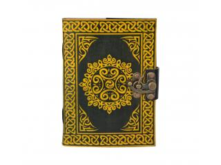 leather Journal Wholesaler Yellow Black Celtic Beautiful Design Blank Book Leather Note Book