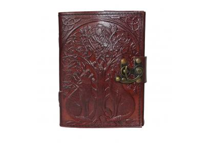 Handmade new cotton paper wolf into the tree Embossed Leather journal Unlined paper diary & notebook