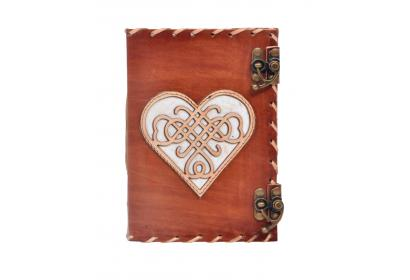 Vintage Handmade Leather Journal Genuine Cut Work Design Heart Journal Notebook