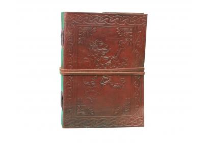 Lion Embossed Leather Journal Diary Handmade with leather strap closure Celtic