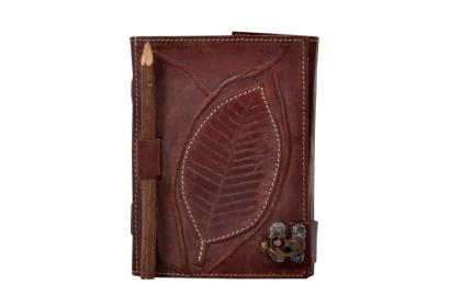 Genuine Leather Journal Antique Leave Journal Notebook With Pencil Design Notebook