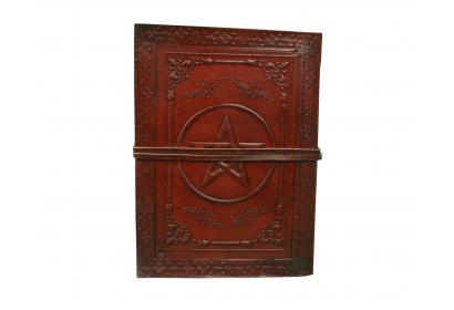 Embossed Classic Pentagram Leather Journal Diary Handmade with leather strap closure