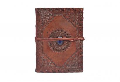 Leather Journal Clasp Embossed Stone Unlined Blue Page Diary Notebook Handmade