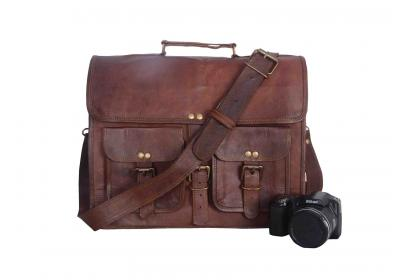 padded office leather briefcase