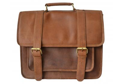 100% Real Crazy horse Leather Men's Brown Briefcase Handbag Laptop Bag Shoulder