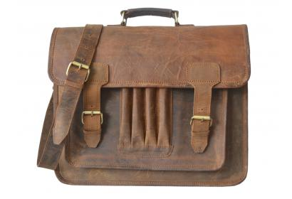 Mens Canvas shoulder messenger bag crazy horse leather briefcase travel handbag