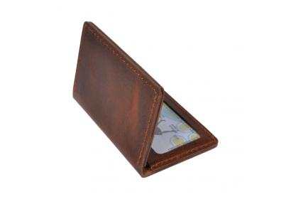 Mens Hunter Leather Blocking Slim Wallet Genuine Leather Front Pocket Credit Card Holder