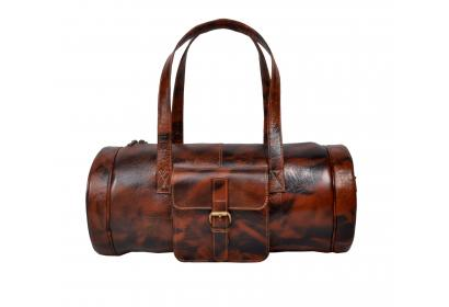 Fashion Business Men Cowhide Leather Duffle Bag Weekend Travel Gym Luggage Bag With Independent Shoes Bag