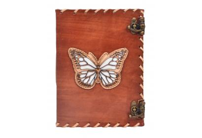Genuine Handmade Leather Journal Antique Cut Work Design Butterfly Design Notebook