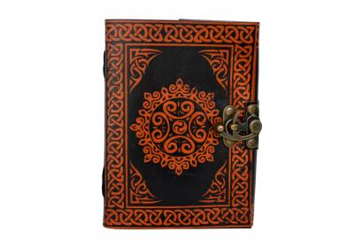 Leather Blank Travel Leather Journal Note Book Orange With Black Journal
