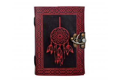 Beautiful Leather Dairy Red Color Celtic Handmade Leather Journal Dream Catcher Leather Embossed Journal Dairy