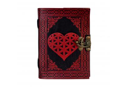 Celtic Book Of Shadows Heart Handmade Wicca Leather Bound LOVE Heart With Back Side Tree Journal Pagan