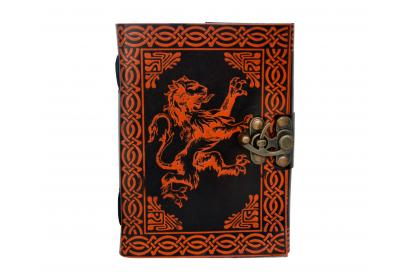 Celtic Lion Handmade Leather Blank Book Dairy Note Book Orange Color Shadow Journal