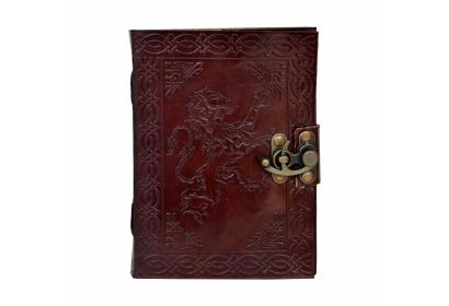 Celtic Lion Embossed Leather Journal Diary Handmade with leather strap closure C Lock Journal