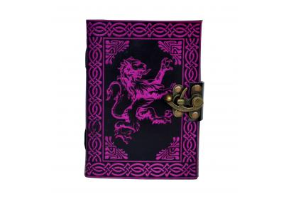 Celtic Lion Shadow Leather Journal Note Book Blank Book Pink With Black Color  Note Book