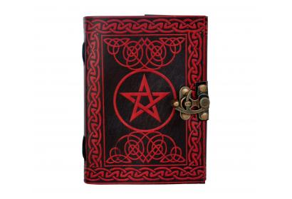 Celtic Pentagram red With Black Leather Journal Diary Travel Book Dairy