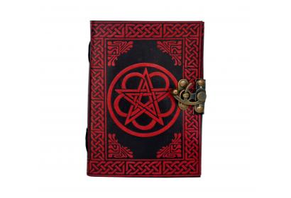 Celtic Beautiful Leather Journal Shadow Handmade Red With Black Pentagram Note Book Gift Use