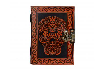 Day of the Dead Da with metal lock Shadow Color Leather Journal Book Christmas Gift