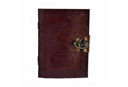 Celtic Shadow Day of the Dead Leather Embossed Journal with metal lock Look Dairy