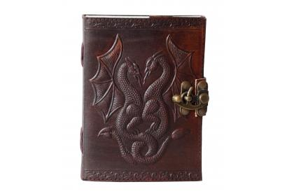 Handmade Leather Double Dragon Journal Handmade Leather Cover Embossed Diary Notebook & Sketchbook