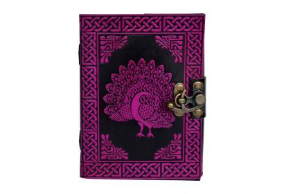Celtic Book Of Shadow Pink With Black Color Beautiful Embossed Peacock Note Book Blank Book