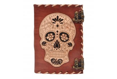Day Of Dead Design Leather Journal Antique 2 Lock Cut Work Side Stitching Leather Journal Notebook