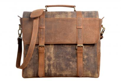 Canvas Men's shoulder messenger bag hunter leather travel briefcase handbag