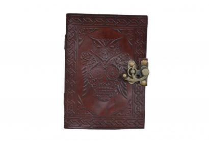 Handmade cotton paper embossed leather journal brown diary writing notebook