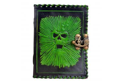 New Genuine Leather Vintage Handmade Leather Journal Wholesaler Skull Embossed Green With Black Antique Diary Journal