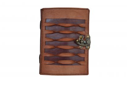 Antique brown leather journal diary with C-Lock