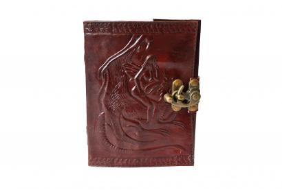 Handmade paper leather journal embossed   brown blank paper diary  writting  notebook