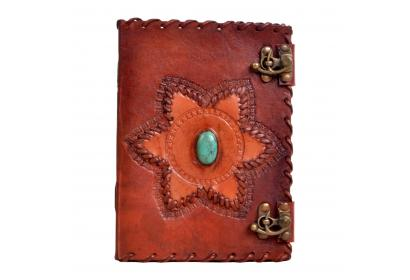 New Handmade Genuine Antique Star Shape Single Stone Leather Journal Antique Diary