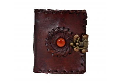 Handmade Leather Journal God's Eye Book Of Shadows Red Stone Wicca Diary Diary