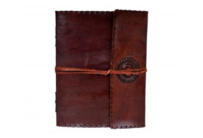 Handmade Medieval Renaissance Diary Leather Journal w/ Stone & Stiched Edges