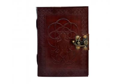 Buddha Embossed Book of Shadows Genuine Vintage Leather Journal Diary Notebook Celtic Organizer Daily Planner Handbook with Brass