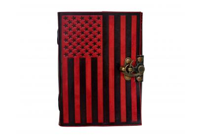 Handmade Real Leather Book Of Shadow USA flag leather journal Note Book