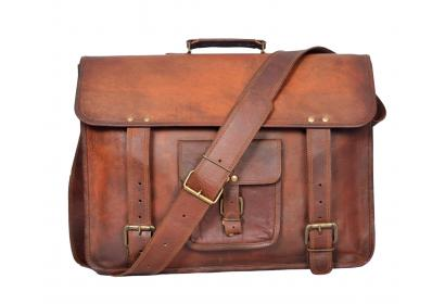 Vintage Goat Leather Messenger Bag