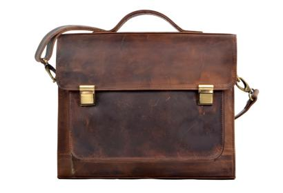 New Men's Vintage Genuine Crazy Horse Leather Travel School Book Bag New