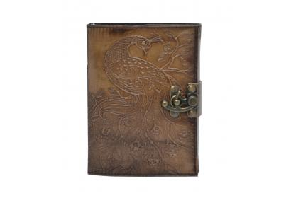 Genuine Vintage Leather Journal Hand Peacock Embossed Charcoal Leather Journal Notebook