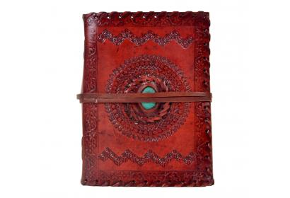 Handmade paper leather journal turquoise stone leather sketchbook & notebook