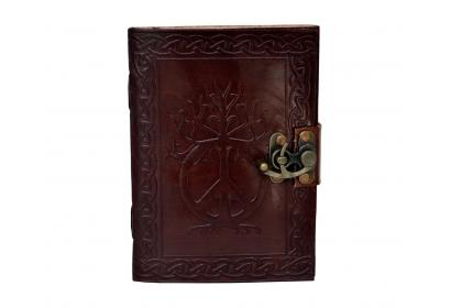 Embossed Leather Peace Sign And Celtic Knotwork Swing Clasp Journal Blank Book Wholesaler India