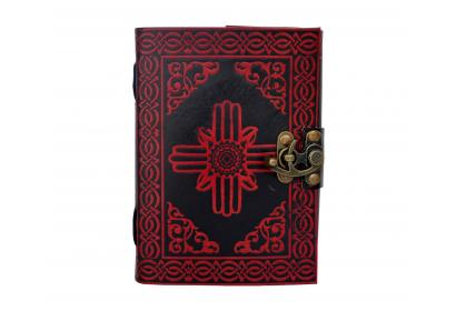 Handmade Red With Black Color Shadow Indra Celtic knot Leather Journal Notebook Diary Book