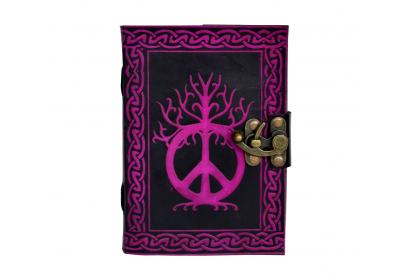 INDIA Handmade Celtic leather journal note book peace sign leather travel book Handmade 120 paper